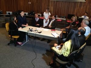 Reunião de conciliação foi no TRT (Foto: Rodrigo Grando/ TV Morena)