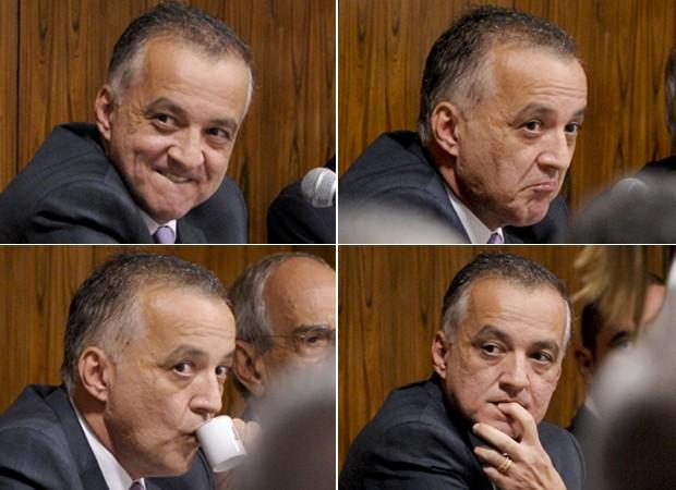 O bicheiro Carlinhos Cachoeira, durante sessão da CPI nesta terça, em que permaneceu calado após perguntas dos parlamentares (Foto: Fotos: Lia de Paula/Agência Senado)