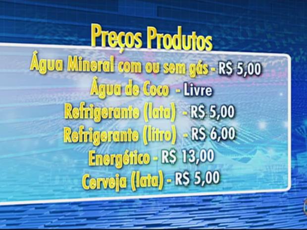 Preços das bebidas foram determinados pelo Procon  (Foto: Reprodução/TV Asa Branca)