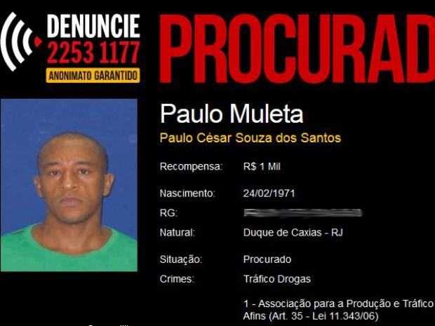 Foto e dados do suspeito estão no site do Disque-Denúncia do RJ (Foto: Reprodução procurados.org.br)