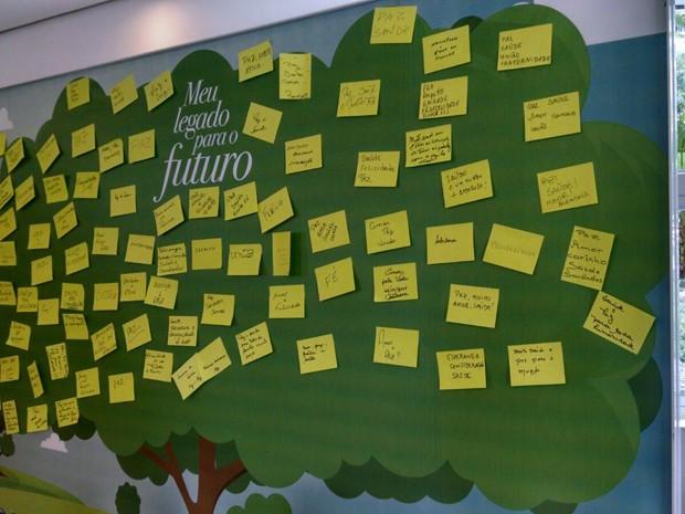 Painel foi criado para colocar os 'legados do futuro' (Foto: Rafaella Mendes/G1)