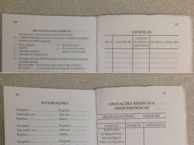Páginas de carteira de trabalho coladas fora de ordem; situação chamou a atenção para possível fraude em Brasília (Foto: Polícia Civil/Divulgação)
