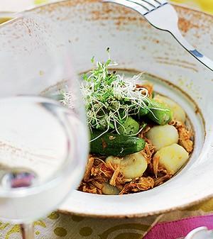 Nhoque com frango e quiabo (Foto:  )