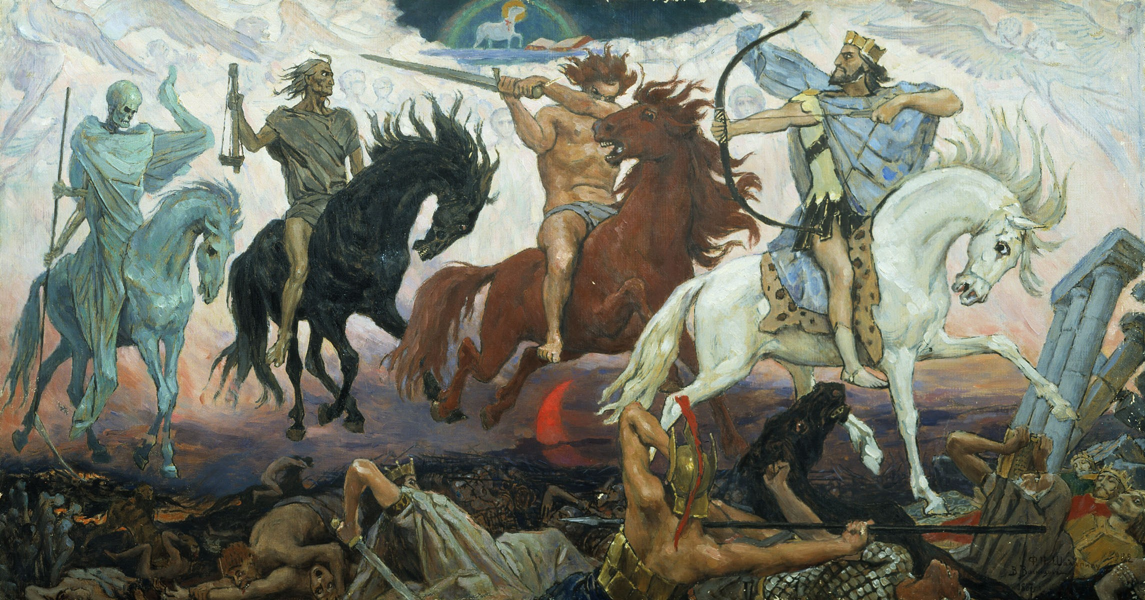 """""""Os Quatro Cavaleiros do Apocalipse"""", quadro de Victor Vasnetsov (1887) (Foto: Domínio Público)"""
