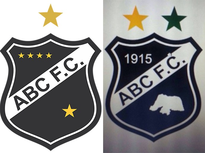 Escudo atual do ABC; novo escudo proposto pelo conselheiro Augusto Azevedo (Foto: Reprodução)