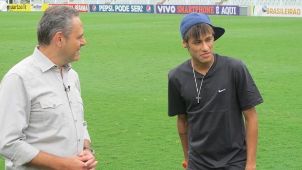 Neymar e Luiz Roberto 3 (Foto: Marcelo Hazan / TV Globo)