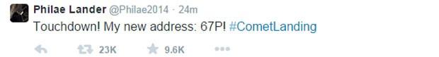 """Mensagem publicada em inglês na conta do Twitter @Philae2014, do módulo espacial liberado pela sonda Rosetta, diz """"Aterrisei! Meu novo endereço é: 67P!"""" (Foto: Reprodução/Twitter/@Philae2014)"""