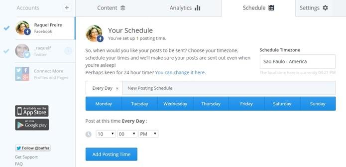 Horário e dias da semana dos posts podem ser configurados previamente (Foto: Reprodução/Raquel Freire)