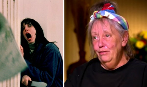 A atriz Shelley Duvall em cena de 'O Iluminado' (1980) e hoje em dia (Foto: Reprodução)