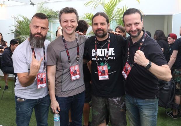 Amon Lima, Lucas Lima, Andreas Kisser e Moisés Lima (Foto: Cleomir Tavares/QUEM)