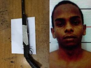 Eldivan da Conceição Alves, de 23 anos, usava uma espingarda calibre 38 para render os fazendeiros, em Porto Nacional (Foto: Divulgação/SSP TO)