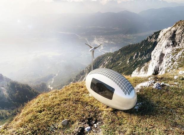 casa-movel-produz-propria-energia-solar-eolica (Foto: Divulgação/Ecocapsule)