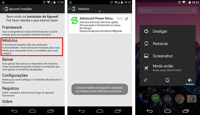 Ative um módulo no Xposed e reinicie o aparelho para que os recursos passem a operar (Foto: Reprodução/Paulo Alves)
