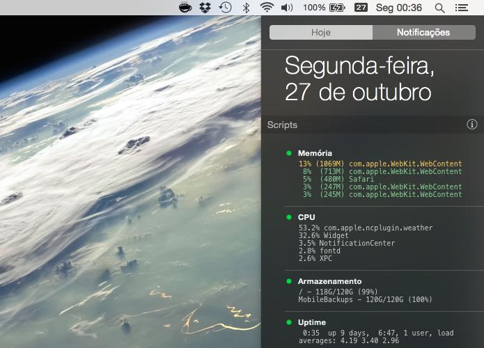 Aplicativo permite que usuário adicione scripts à central de notificações (Foto: Reprodução/Helito Bijora)