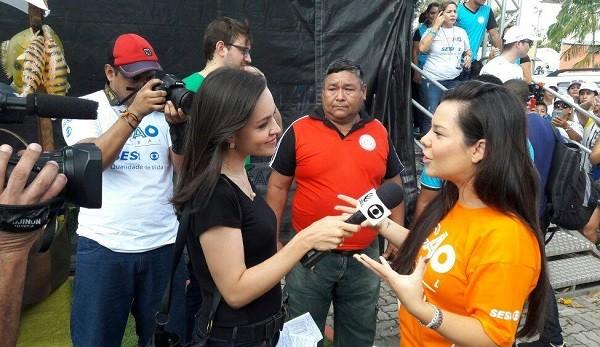 Fernanda Souza participou do Ação Global em Belém (Foto: Foto: Karinne Damasceno / TV Liberal)