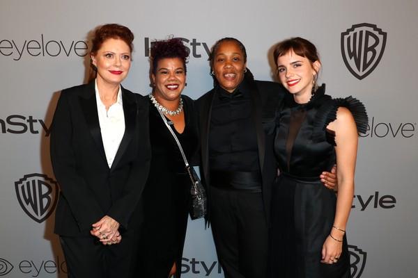 As atrizes que participam do movimento Time's Up durante a cerimônia do Globo de Ouro 2018 (Foto: Getty Images)