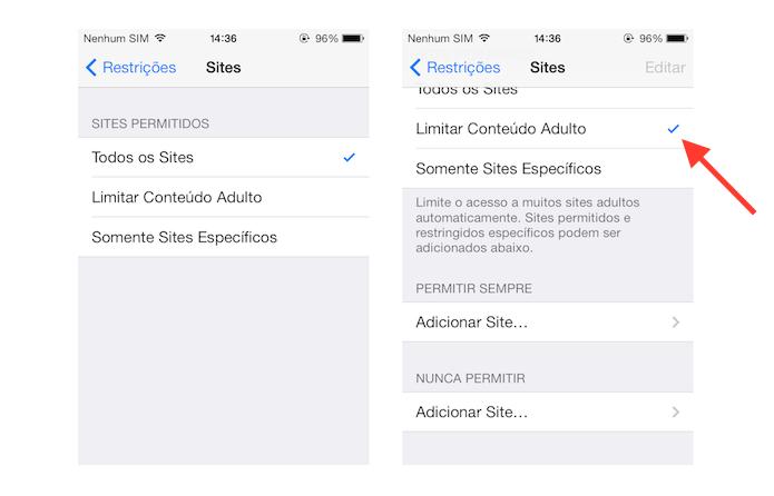 Ativando as restrições a sites com conteúdos adultos no iOS (Foto: Reprodução/Marvin Costa)