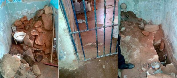 presos serraram as grades da cela, escavaram um buraco no chão, saíram do pavilhão e pularam o muro (Foto: Divulgação/Direção do Presídio de Pau dos Ferros)