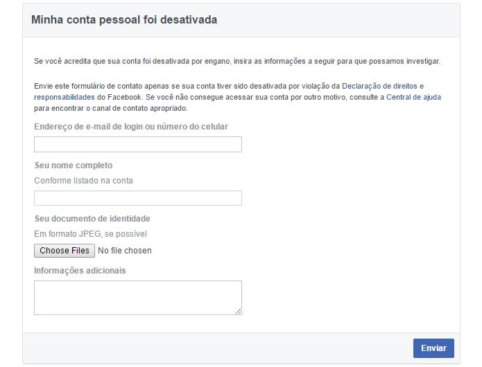 Formulário do Facebook ajuda a recuperar acesso a contas (Foto: Reprodução/Facebook)