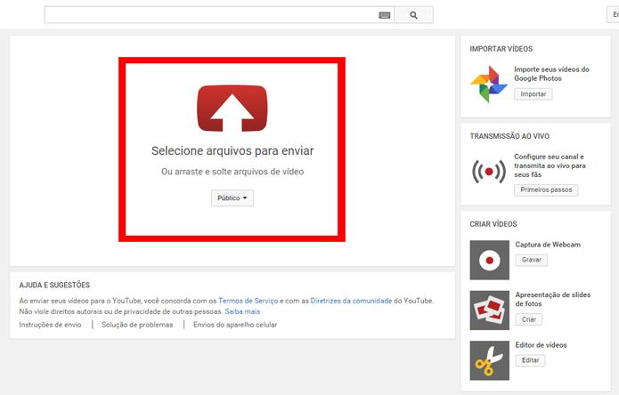 Vídeos podem ser escolhidos ou arrastados para começar o upload (Foto: Reprodução/João Kurtz)