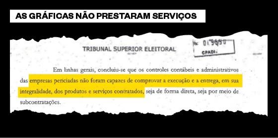 Trecho do laudo pericial sobre as gráficas contratadas pela chapa Dilma/Temer (Foto: Reprodução)