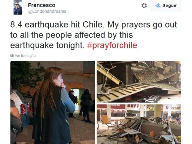 Imagem mostraárea afetada pelo terremoto (Foto: Reprodução/Twitter)