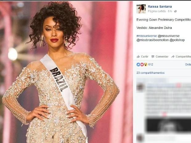 Raissa Santana está em confinamento nas Filipinas desde 12 de janeiro, participando das preliminares da competição (Foto: Reprodução/Facebook)