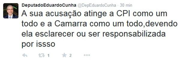 O presidente da Câmara, Eduardo Cunha, comenta no Twitter declarações da advogada Beatriz Catta Preta (Foto: Reprodução / Twitter)
