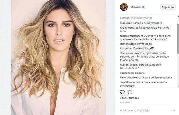 Seguidores de Rafa Brites a comparam com Fernanda Lima (Foto: Reprodução/Instagram)