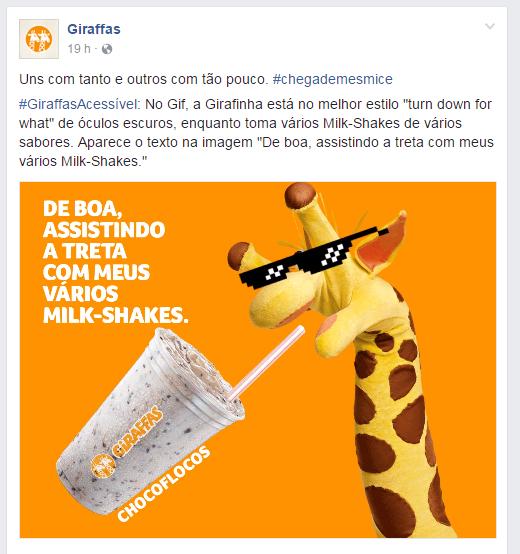 Giraffas também usou a rede social para comentar o assunto (Foto: Reprodução/Facebook)