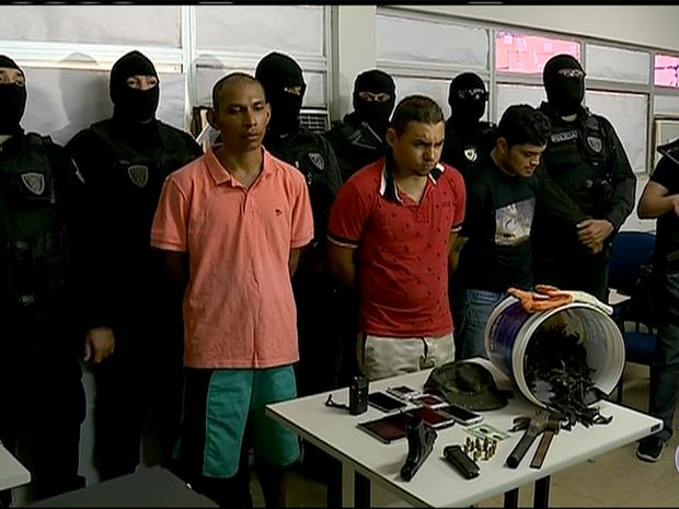Três suspeitos de matar PM em shopping no RN são presos e arma recuperada (Foto: Reprodução/Inter TV Cabugi)