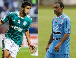 Alan Kardec, do Palmeiras, com o Iarley, do Paysandu (Foto: Montagem sobre foto da Agência Estado)