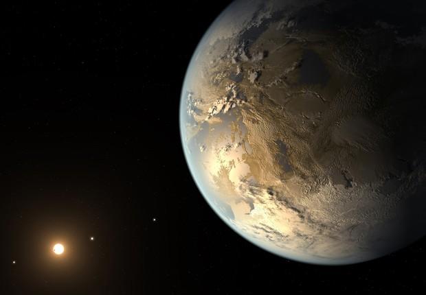 Ilustração artística de como pode ser o planeta Kepler-186f. Segundo astrônomos, é o planeta mais parecido com a Terra já encontrado (Foto: NASA Ames, SETI Institute, JPL-Caltech, T. Pyle/AP)