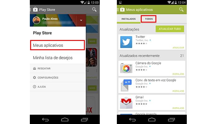 Acesse o meu de apps já baixados (Foto: Reprodução/Paulo Alves)
