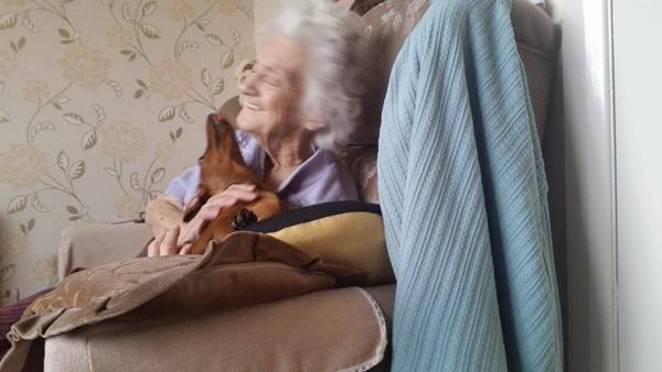 Avó de 95 anos para de chorar de dores quando brinca com pet (Foto: Reprodução / Twitter)