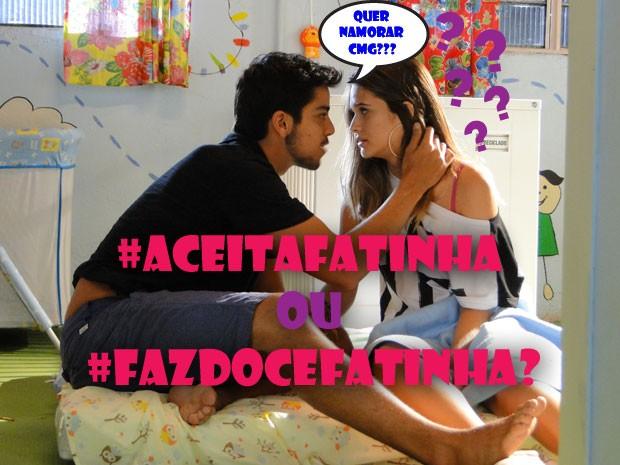 E aí? Será que Fatinha tem que aceitar o pedido ou tem que fazer jogo duro? Comenta aí! (Foto: Malhação / Tv Globo)