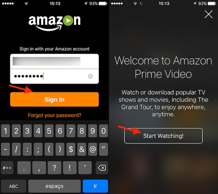Acessando o aplicativo Amazon Prime Video no iPhone (Foto: Reprodução/Marvin Costa)