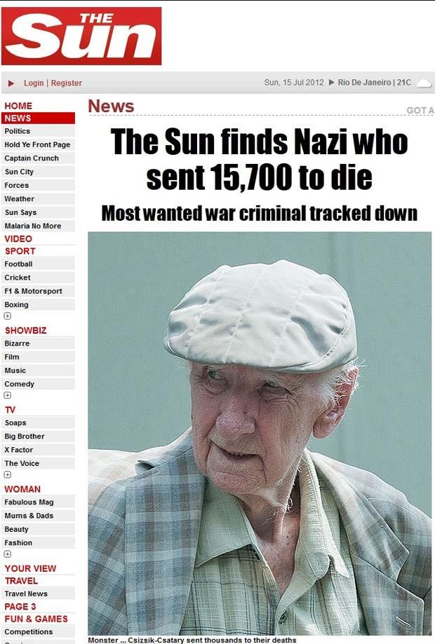 Reportagem do jornal 'The Sun' sobre Laszlo Catary (Foto: Reprodução/The Sun)