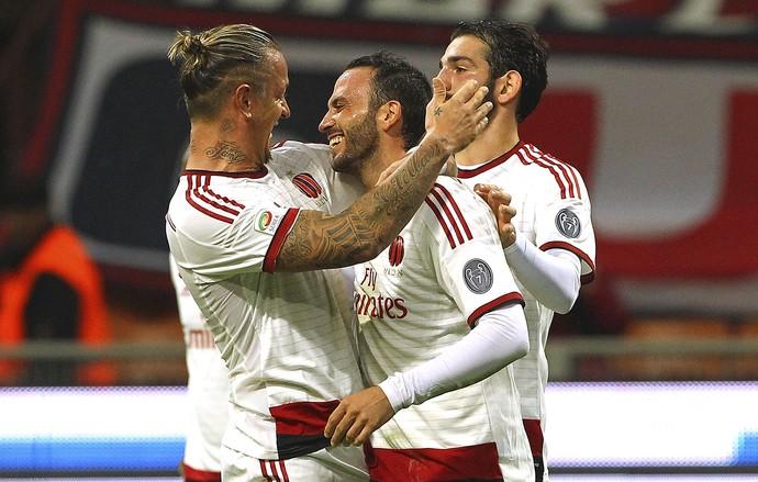 Pazzini, Mexes e Saponara, gol Milan x San Lorenzo (Foto: Getty Images)