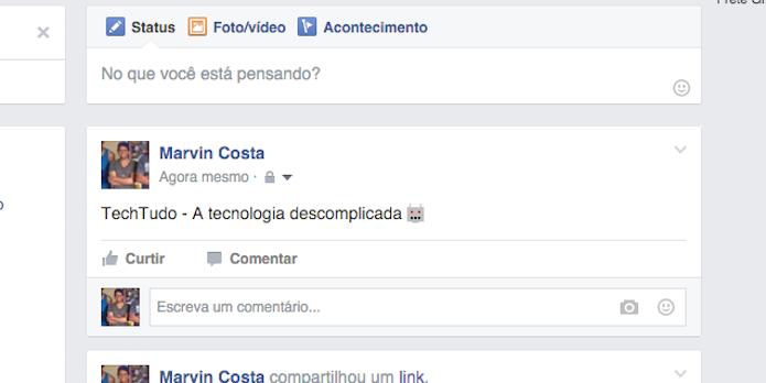 Emoticon secreto do Facebook em uma postagem do Facebook (Foto: Reprodução/Marvin Costa)