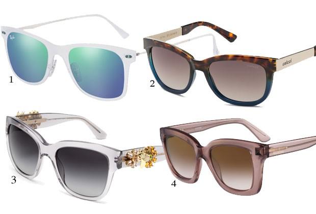 1. Ray-Ban Light Ray 2.0, na Sunglass Hut, R$ 630. 2. Colcci Eyewear, R$ 389. 3. Dolce & Gabbana Enchanted Beauties, na Sunglass Hut, R$ 2.400. 4. Valentino, na Marchon, R$ 950 (Foto: Divulgação)