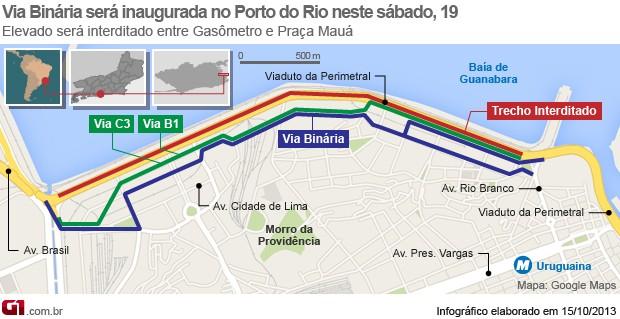 Via Binária será inaugurada no Porto do Rio neste sábado, 19 (Foto: Arte / G1)