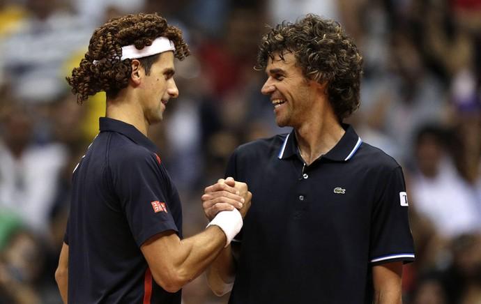 Tênis Djokovic e Guga exibição ginásio do Maracanãzinho (Foto: Agência Reuters)
