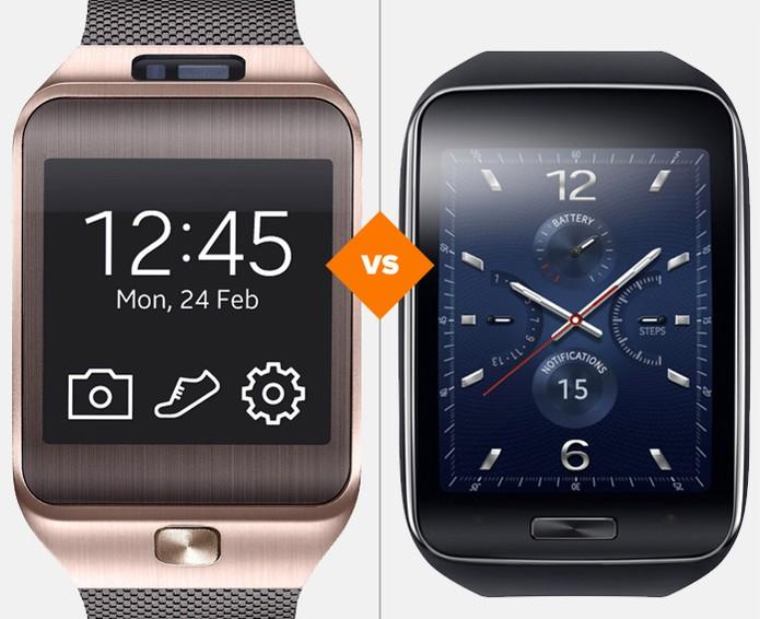 Gear 2 e Gear S, smartwatches da Samsung, lado a lado (Foto: Arte/TechTudo)