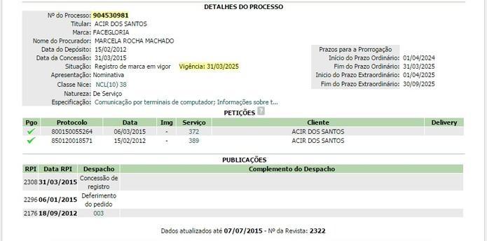 INPI concedeu registro de marca para o Faceglória (Foto: Reprodução / Laura Martins) (Foto: INPI concedeu registro de marca para o Faceglória (Foto: Reprodução / Laura Martins))