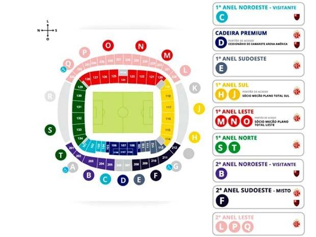 Mapa dos portões de acesso a Arena das Dunas para América-RN x Flamengo (Foto: Reprodução)
