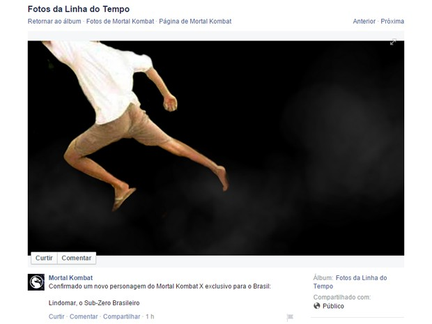 Página de 'Mortal Kombat' no Facebook confirma Lindomar, o Sub-Zero brasileiro, no game 'Mortal Kombat X' (Foto: Reprodução/Facebook)