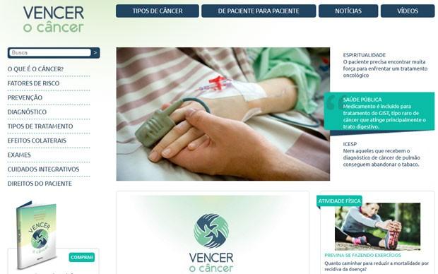 Site Vencer o Câncer traz informações sobre mais de 20 tipos de câncer (Foto: Reprodução/Vencer o Câncer)