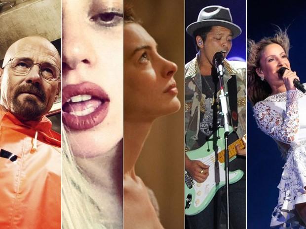 Da esquerda: nova temporada da série 'Breaking Bad', álbum 'ARTPOP' de Lady Gaga, filme 'Os miseráveis' e músicas de Bruno Mars e Claudia Leitte podem ser sucessos que vão marcar 2013 (Foto: Divulgação, Reprodução Twitter, Divulgação,  Flávio Moraes/G1 e G1)