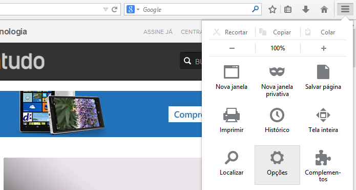 Acesse as opções do Firefox (Foto: Reprodução/Helito Bijora)